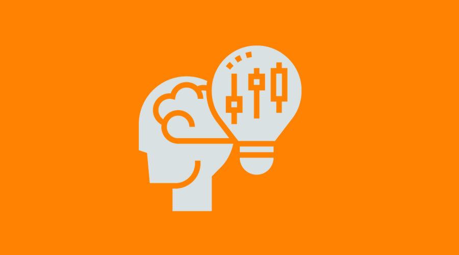 Abstract image head, brain and lightbulb idea concept