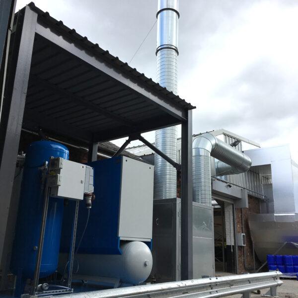 External shot of factory showing ventilation infrastructure