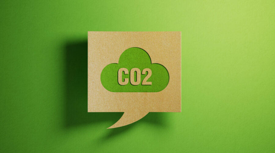 Abstract image of Carbon Dioxide CO2 symbol on a green background