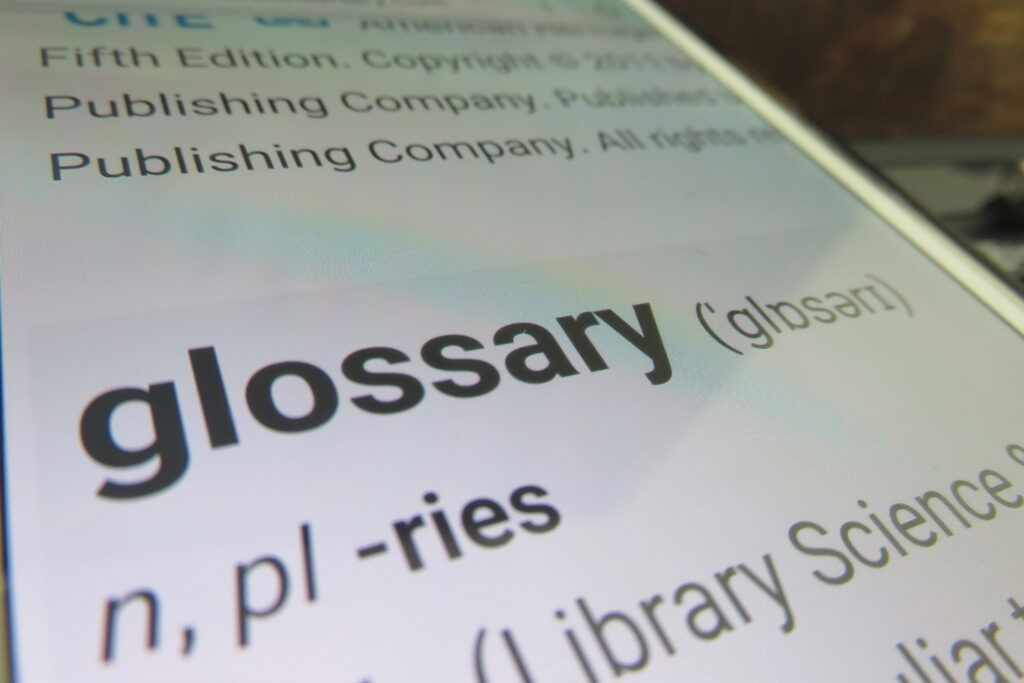 Typeface on a mobile device showing dictionary definition of a glossary