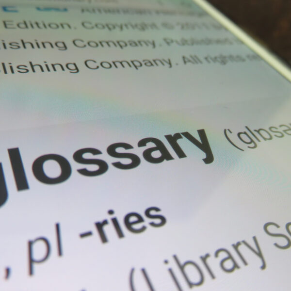 Magnified image of the word glossary