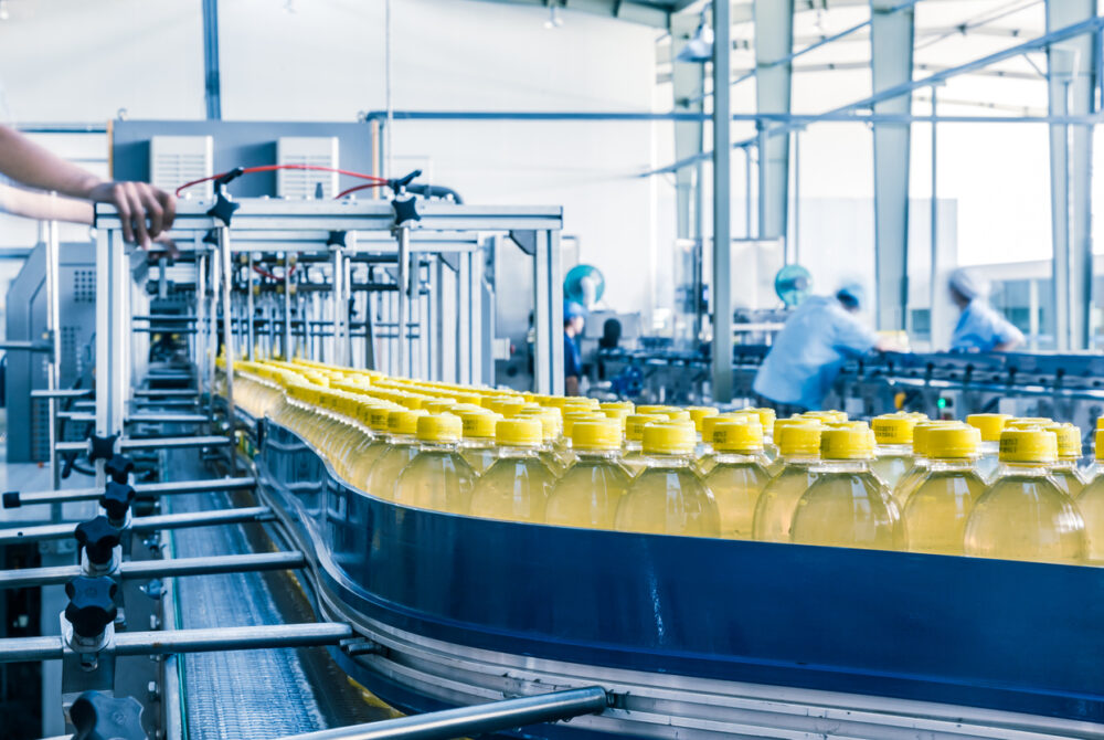 Bottled products on a production conveyor belt