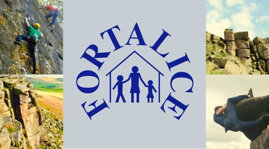 Fortalice charity logo with pictures of rock climbing challenge