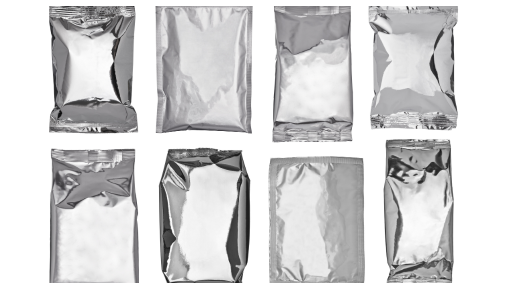 airtight foil packaging on white background