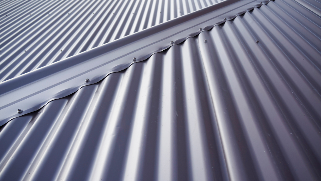 blue-grey metal roof