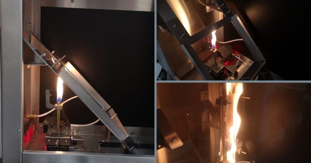 flammability testing cabinet testing fire retardant coating material.