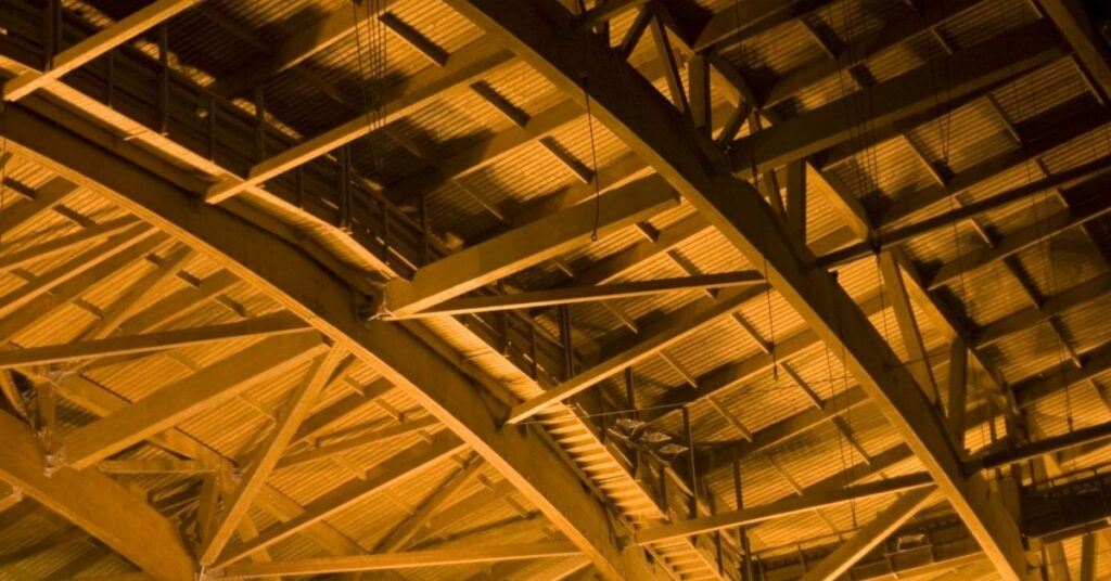 detail of the inside of a modern wooden roof with joints fixed by polyurethane adhesives